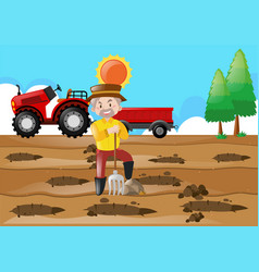 farm scene with farmer making holes in the ground vector image vector image