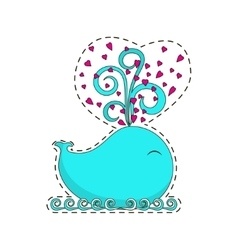 Fashion patch badge with whale vector