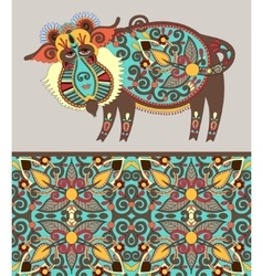 folk ethnic animal - wild boar with seamless vector image