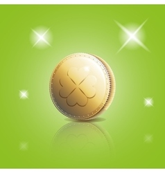 Gold coin with four leaf clover vector