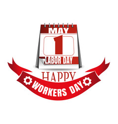 Labor day calendar may 1 happy workers day vector