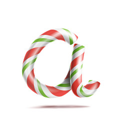 letter a 3d realistic candy cane alphabet vector image vector image