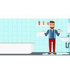 Man in despair standing near leaking sink vector image vector image