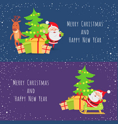 Merry christmas and happy new year set of icons vector