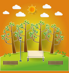 Natural landscape in pop up paper cut style vector