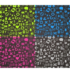 pattern media pixels art style icons set vector image