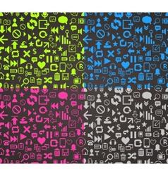 pattern media pixels art style icons set vector image