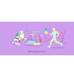 Pharmacology in sport icon flat isolated vector
