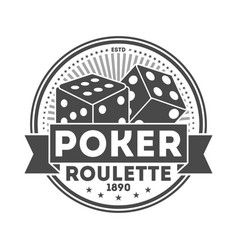 poker roulette vintage isolated label vector image vector image