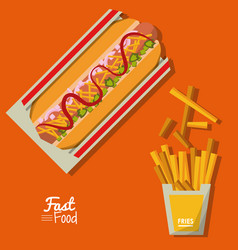 Poster fast food in orange background with hotdog vector