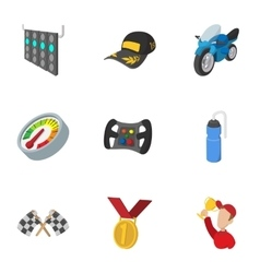 Racing accessories icons set cartoon style vector image vector image