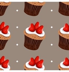 Seamless pattern strawberry cupcakes vector