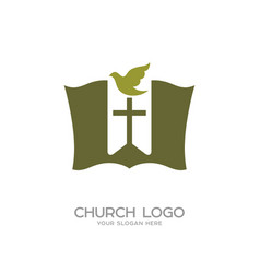 the bible the bookmark cross and dove vector image vector image