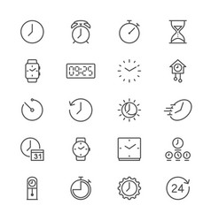 time and clock thin icons vector image vector image