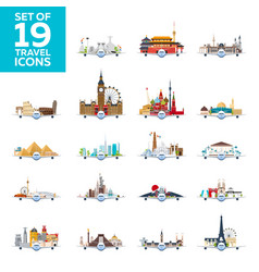 travel to world airplane with attractions big vector image vector image