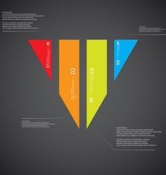 Triangle template consists of four color parts on vector