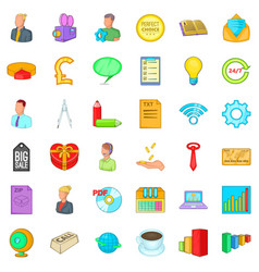 Viral marketing icons set cartoon style vector