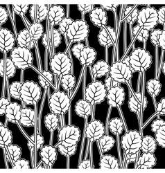 white leaves on twigs black seamless pattern vector image