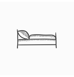 Bed sketch icon vector