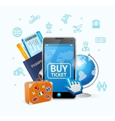 Online ticket airline with mobile app vector