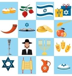 Set of colorful elements for hanukkah celebration vector