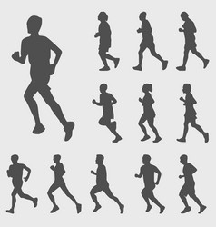 Running silhouettes set vector