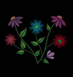 Embroidery stitches with flowers and leaves vector