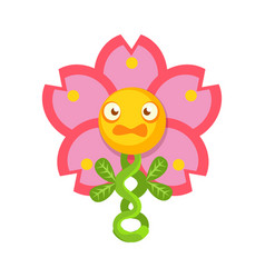 cute fantastic pink flower plant character nature vector image