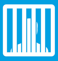 Man behind jail bars icon white vector