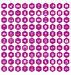 100 family icons hexagon violet vector