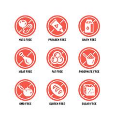 Food dietary symbols gmo free no gluten vector
