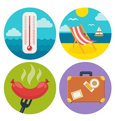 summer icons in flat design vector image