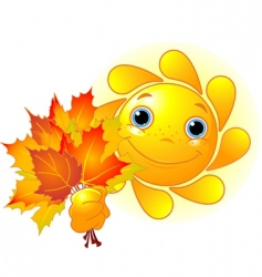 Sun with autumn leaves vector