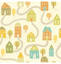 Cute autumn houses seamless pattern vector