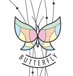 Logo butterfly perched on branches vector