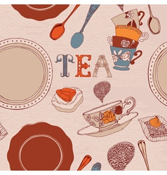 Card with tea and cakes vector