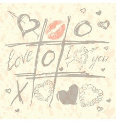 Tic tac toe hearts valentine background vector