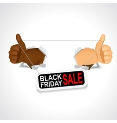 Black hands holding a black friday sale banner vector