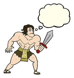 Cartoon fantasy hero man with thought bubble vector
