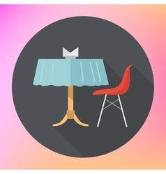 Table chair napkins flat vector