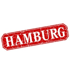 Hamburg red square grunge retro style sign vector
