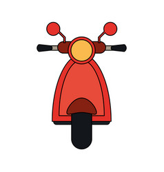 Color image front view red scooter motorcycle vector