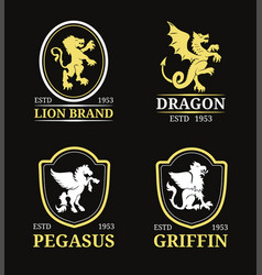 crest monogram templates luxury pegasus vector image