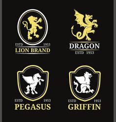 Crest monogram templates luxury pegasus vector