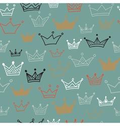Crowns seamless pattern on dark background vector image
