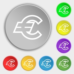 Euro EUR icon sign Symbol on eight flat buttons vector image