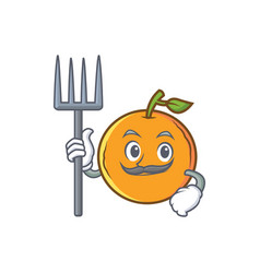 Farmer orange fruit cartoon character vector