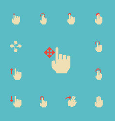 Flat icons press enlarge gesture and other vector