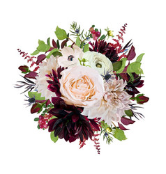 Flower round wreath bouquet of pink rose burgundy vector