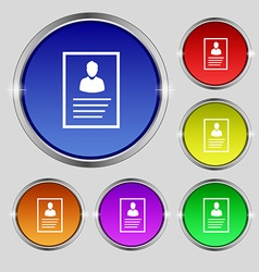 Form icon sign round symbol on bright colourful vector